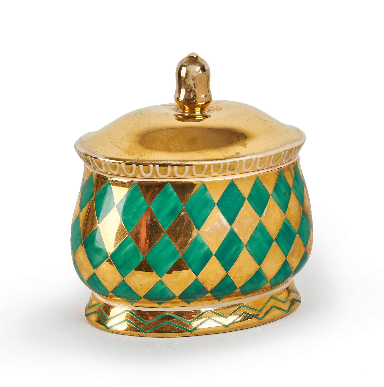 Dagobert PECHE Keramik Deckeldose oval
