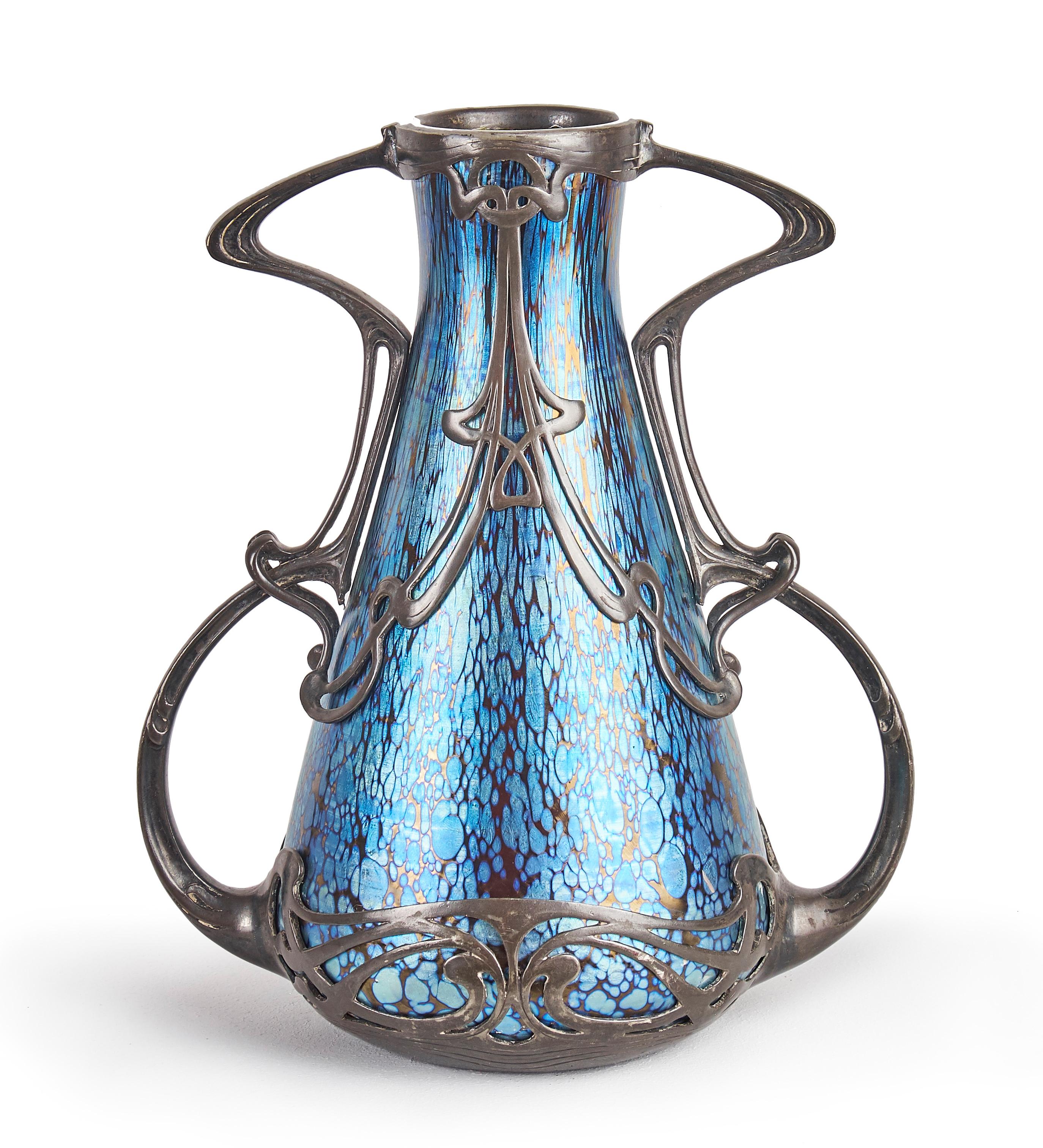 Johann LOETZ WITWE Glasvase cobalt Papillon Montierung