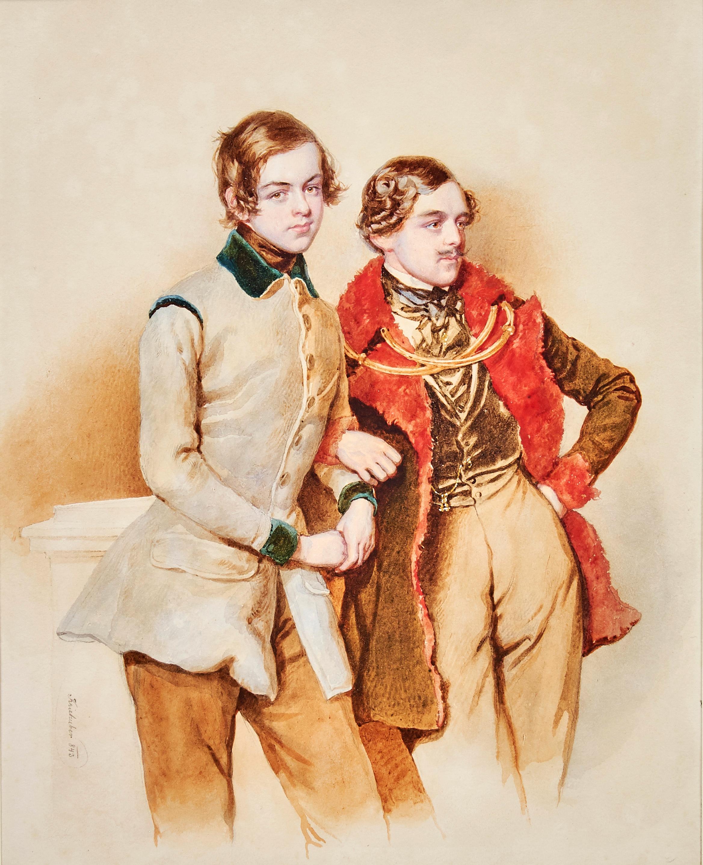 Josef Nikolaus KRIEHUBER 2 junge Herren Kinsky